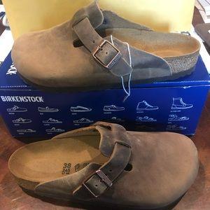 Birkenstock Boston brown leather 7 medium new